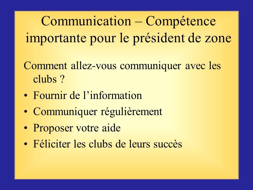 Communication – Compétence importante pour le président de zone