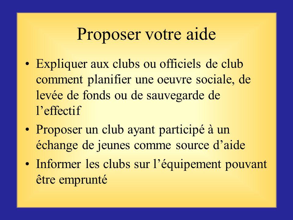 Proposer votre aide Expliquer aux clubs ou officiels de club comment planifier une oeuvre sociale, de levée de fonds ou de sauvegarde de l'effectif.