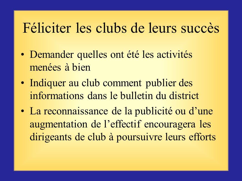 Féliciter les clubs de leurs succès