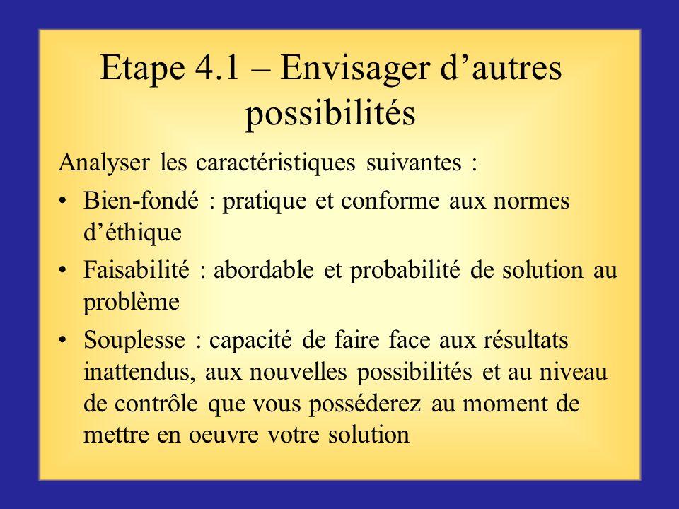 Etape 4.1 – Envisager d'autres possibilités