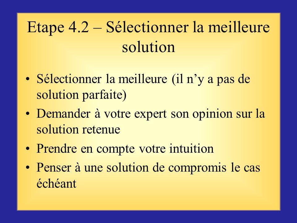 Etape 4.2 – Sélectionner la meilleure solution