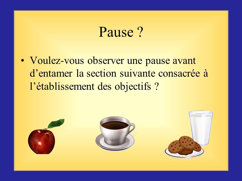 Pause Voulez-vous observer une pause avant d'entamer la section suivante consacrée à l'établissement des objectifs