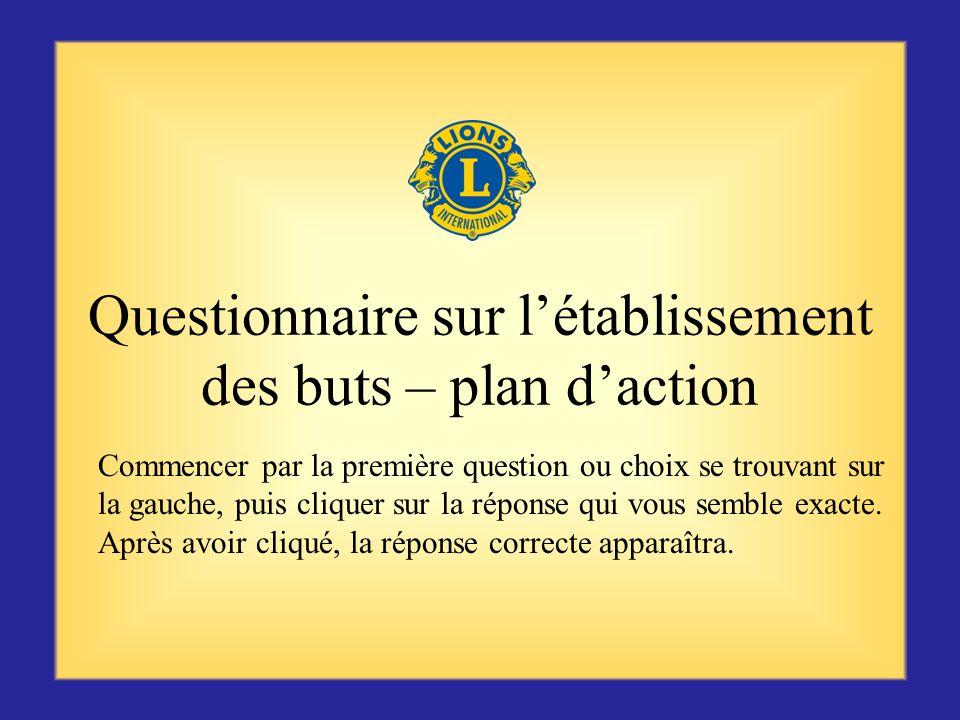 Questionnaire sur l'établissement des buts – plan d'action