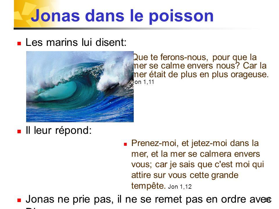 Jonas dans le poisson Les marins lui disent: Il leur répond: