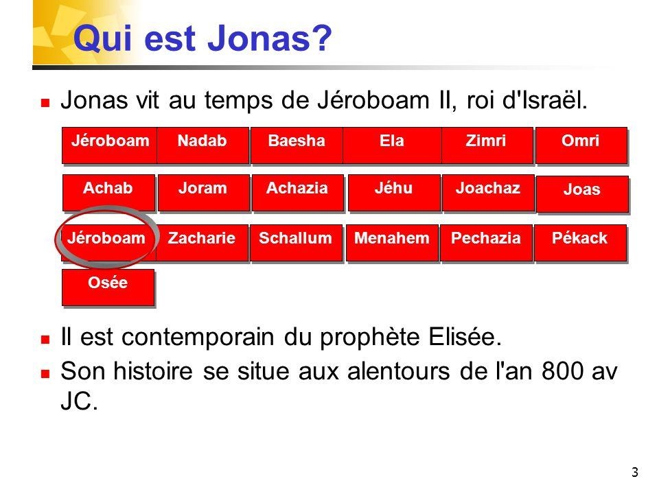 Qui est Jonas Jonas vit au temps de Jéroboam II, roi d Israël.