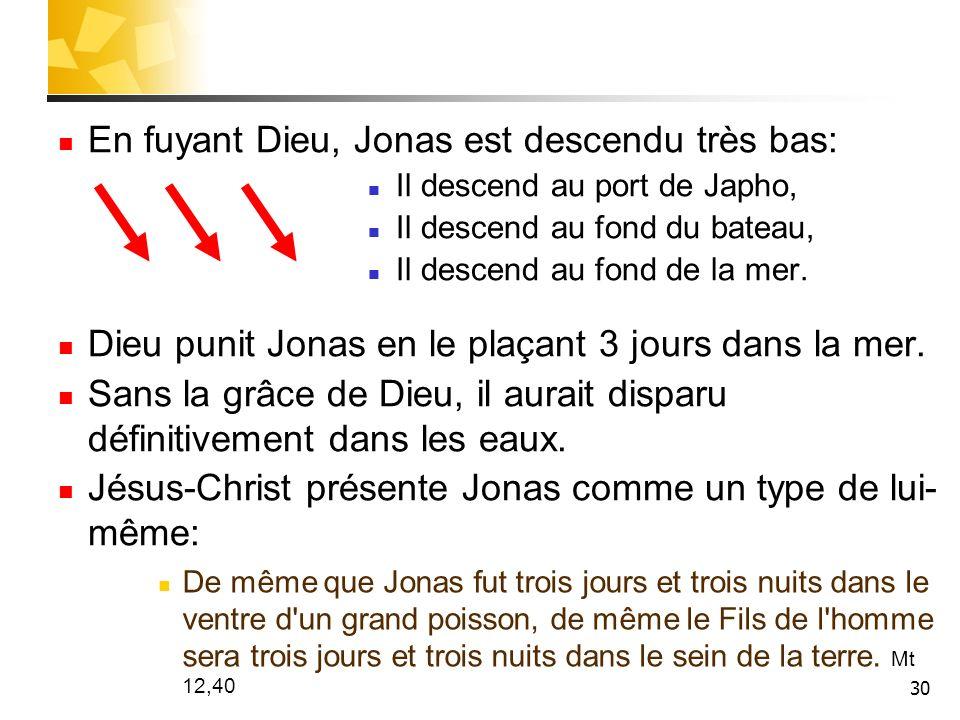 En fuyant Dieu, Jonas est descendu très bas: