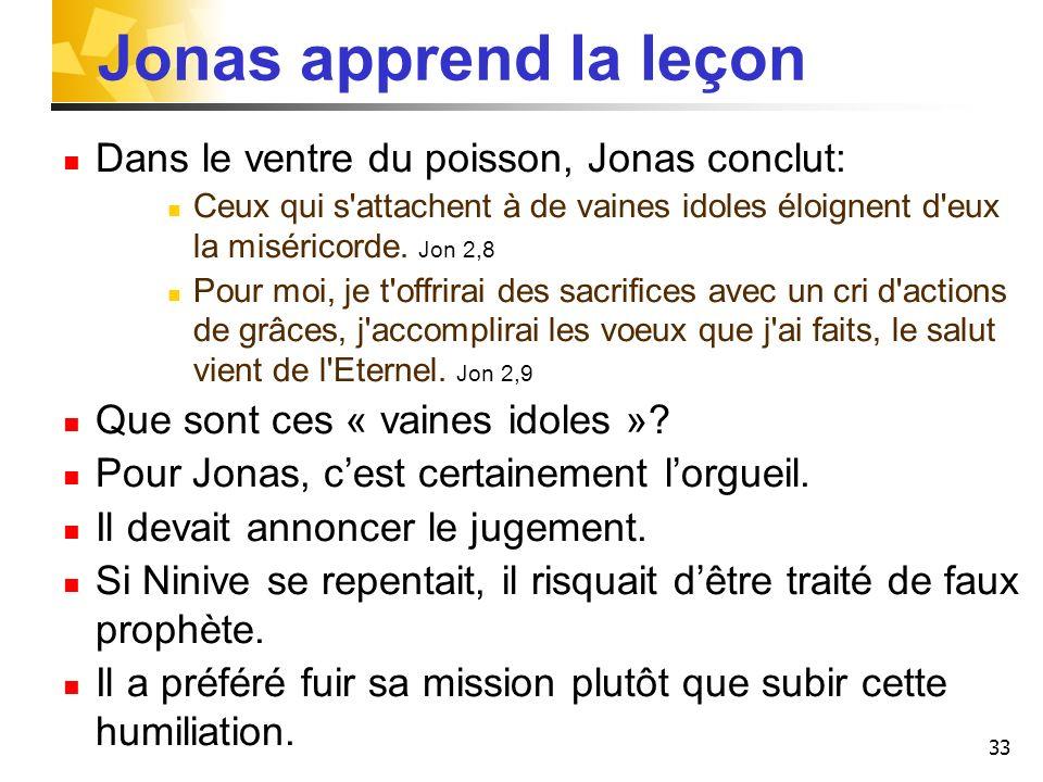 Jonas apprend la leçon Dans le ventre du poisson, Jonas conclut: