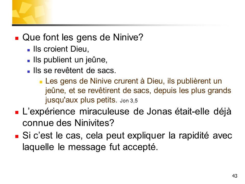 Que font les gens de Ninive