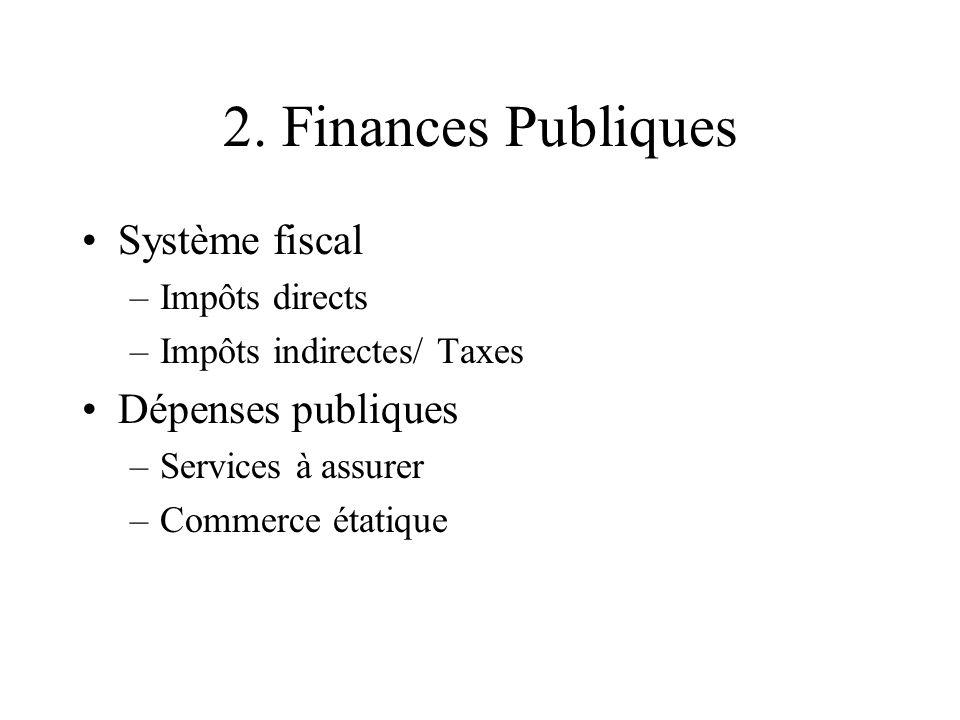 2. Finances Publiques Système fiscal Dépenses publiques Impôts directs