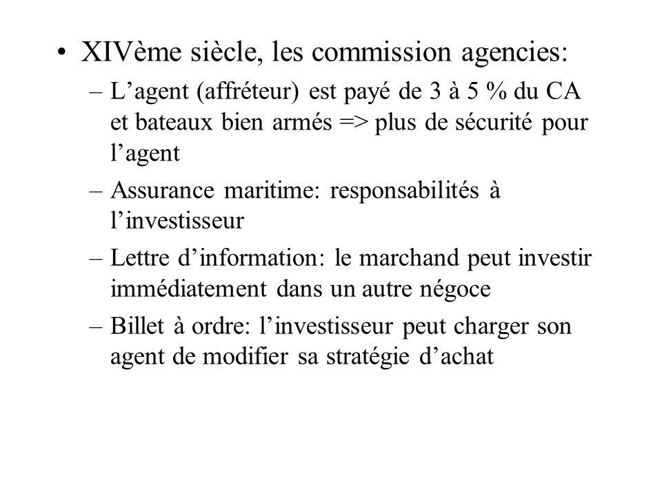 XIVème siècle, les commission agencies: