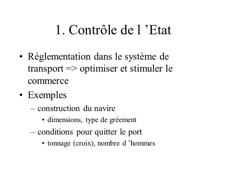 1. Contrôle de l 'Etat Réglementation dans le système de transport => optimiser et stimuler le commerce.