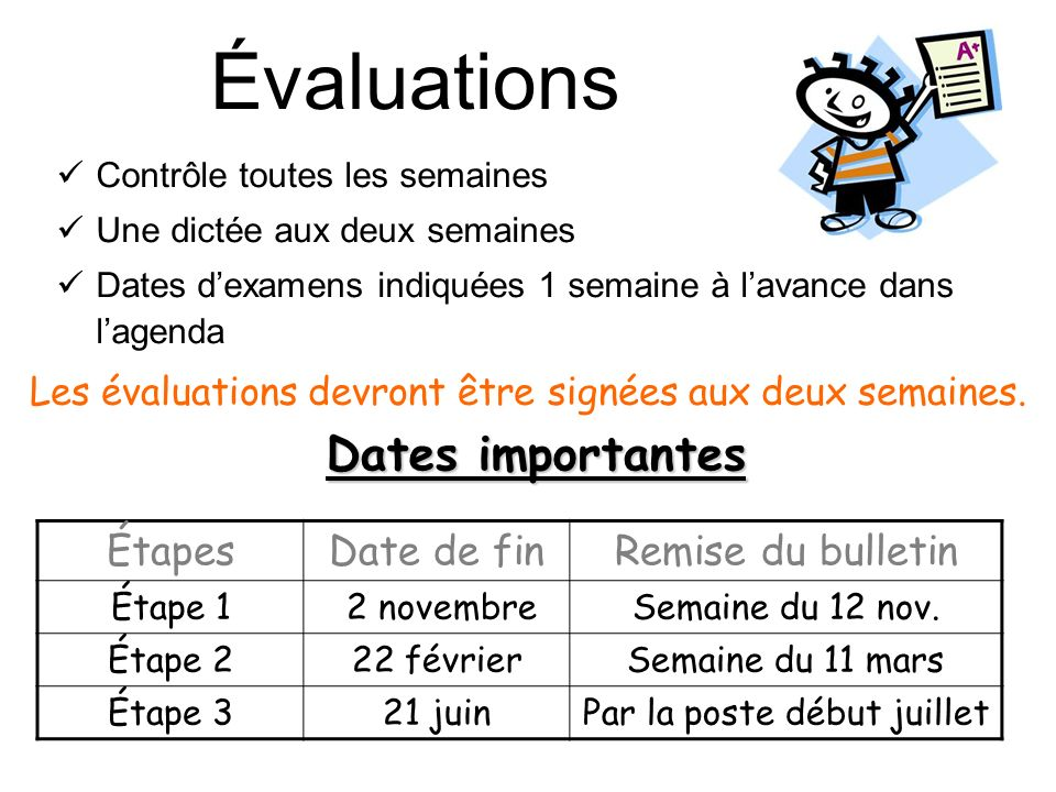 Évaluations Dates importantes Étapes Date de fin Remise du bulletin