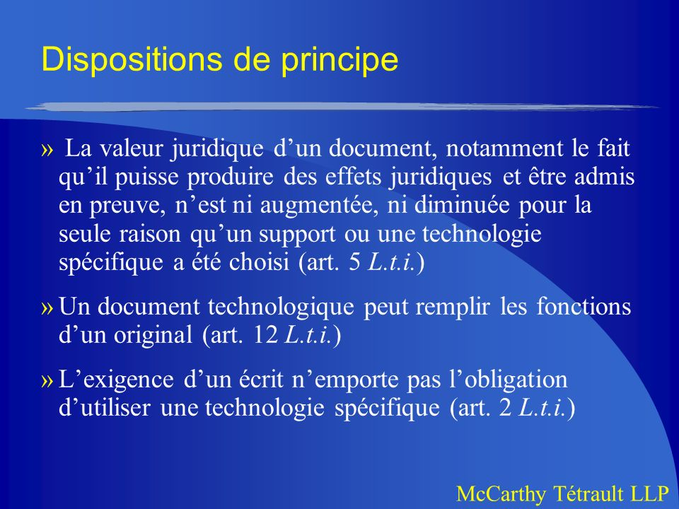 Dispositions de principe