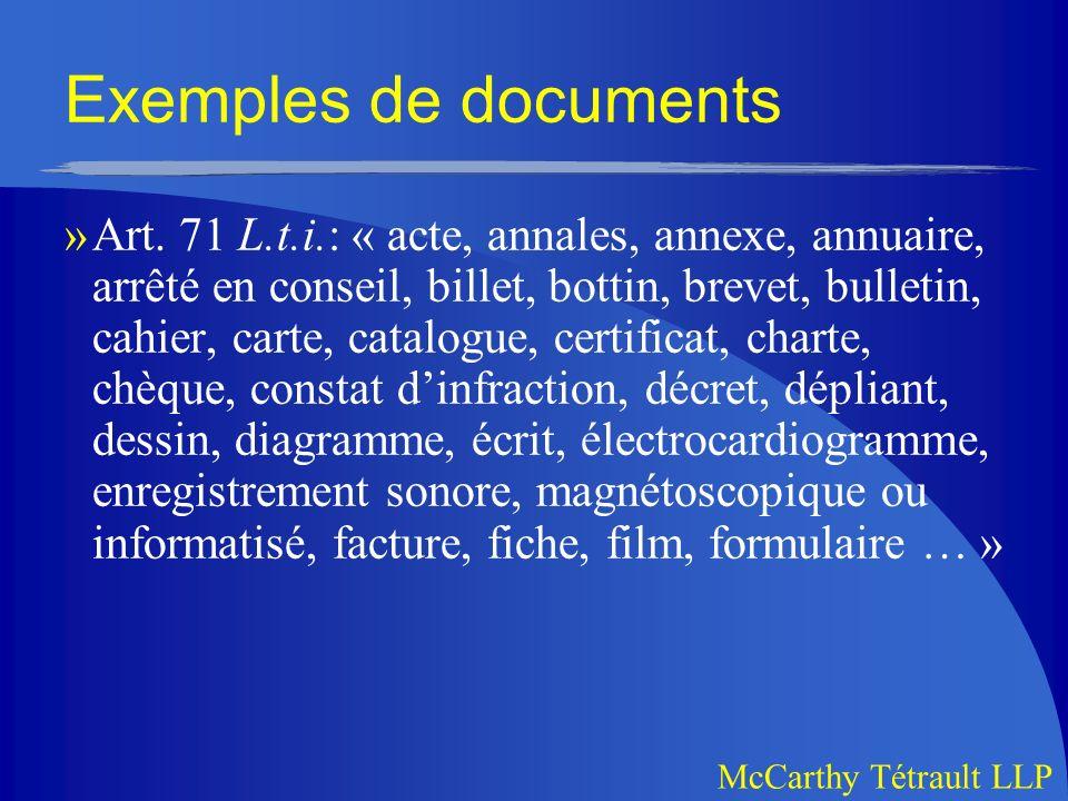 Exemples de documents