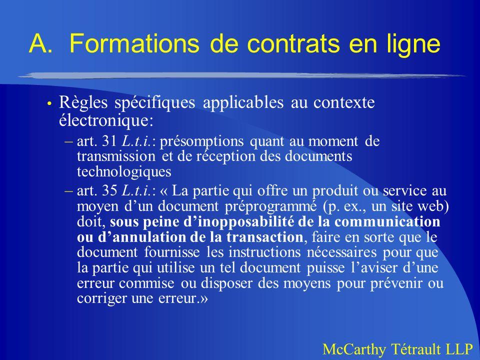A. Formations de contrats en ligne