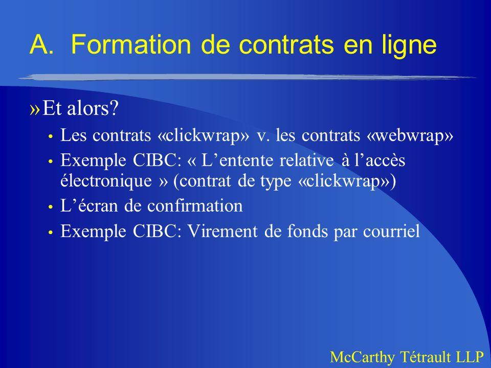 A. Formation de contrats en ligne