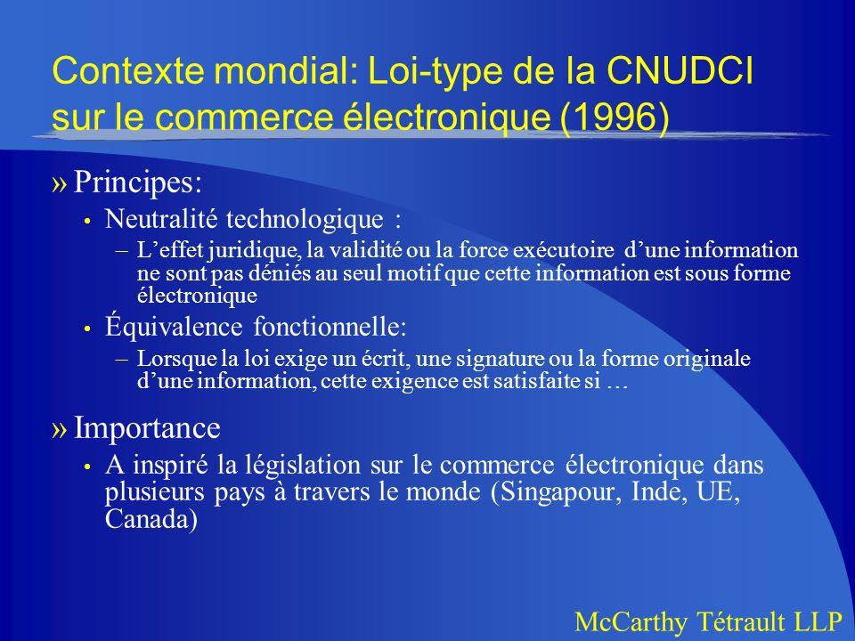 Contexte mondial: Loi-type de la CNUDCI sur le commerce électronique (1996)
