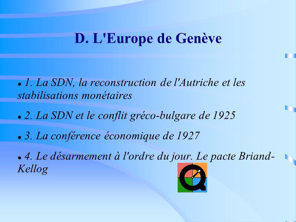 D. L Europe de Genève 1. La SDN, la reconstruction de l Autriche et les stabilisations monétaires.