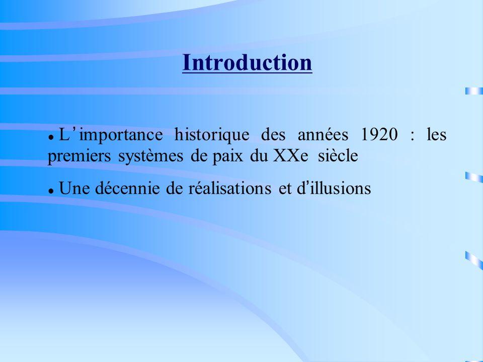 Introduction L'importance historique des années 1920 : les premiers systèmes de paix du XXe siècle.