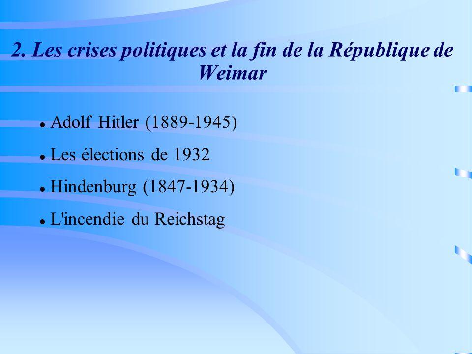 2. Les crises politiques et la fin de la République de Weimar