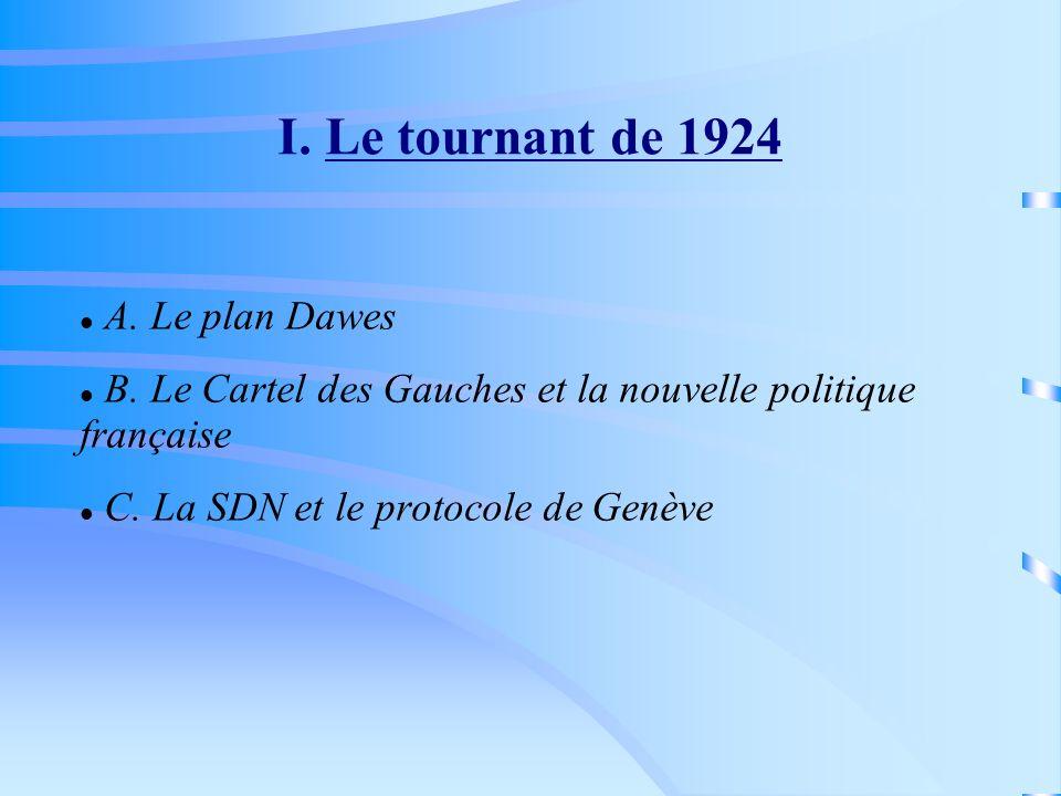 I. Le tournant de 1924 A. Le plan Dawes