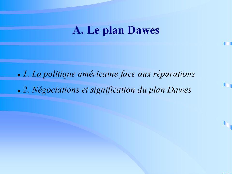 A. Le plan Dawes 1. La politique américaine face aux réparations