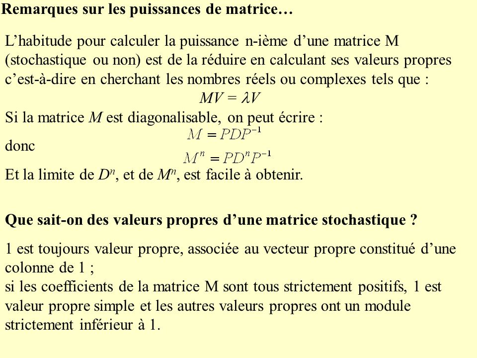 Remarques sur les puissances de matrice…