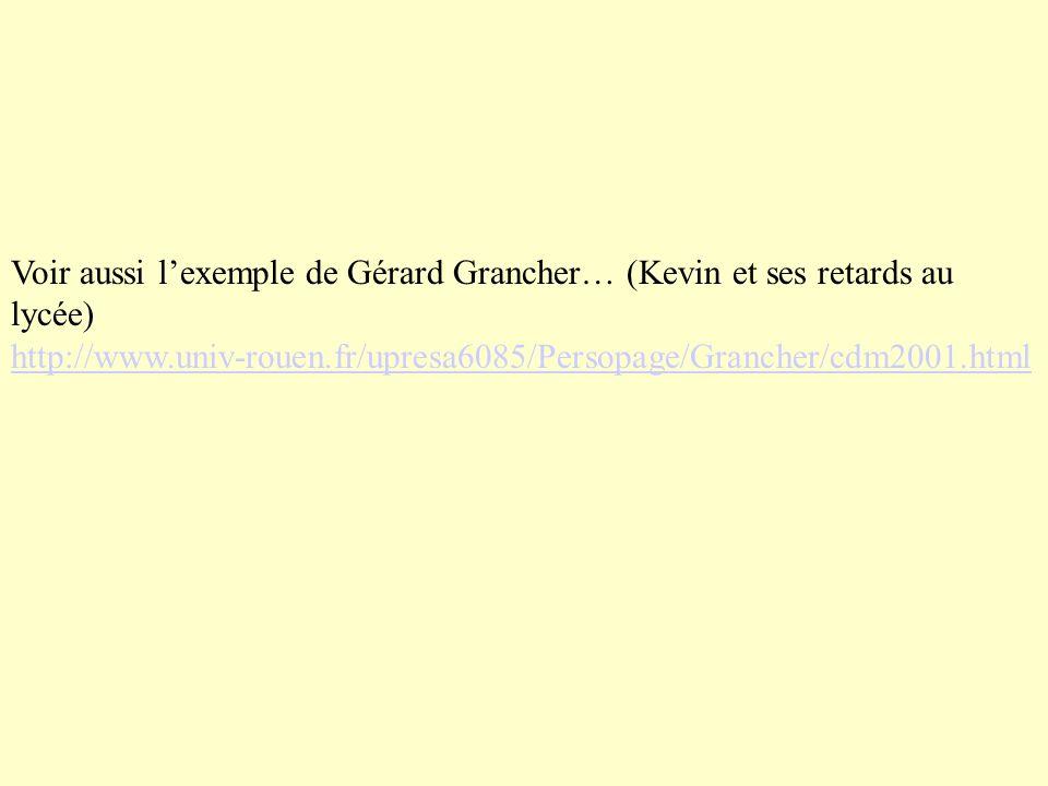 Voir aussi l'exemple de Gérard Grancher… (Kevin et ses retards au lycée) http://www.univ-rouen.fr/upresa6085/Persopage/Grancher/cdm2001.html