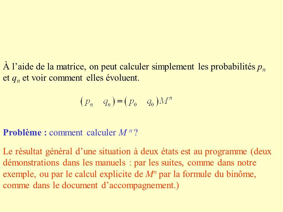 Problème : comment calculer M n