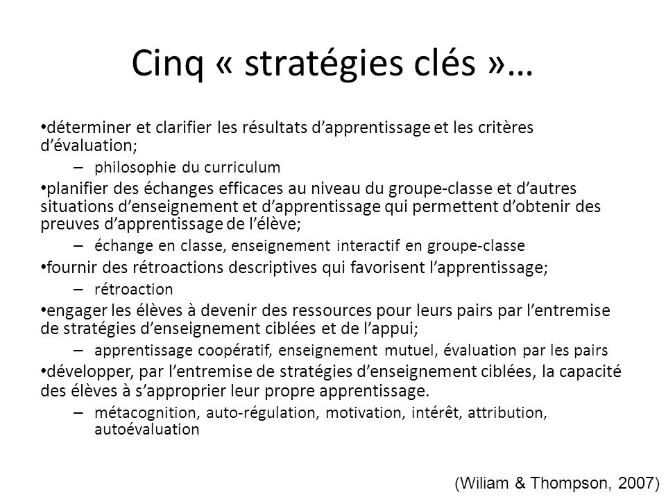 Cinq « stratégies clés »…