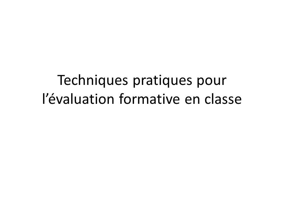 Techniques pratiques pour l'évaluation formative en classe