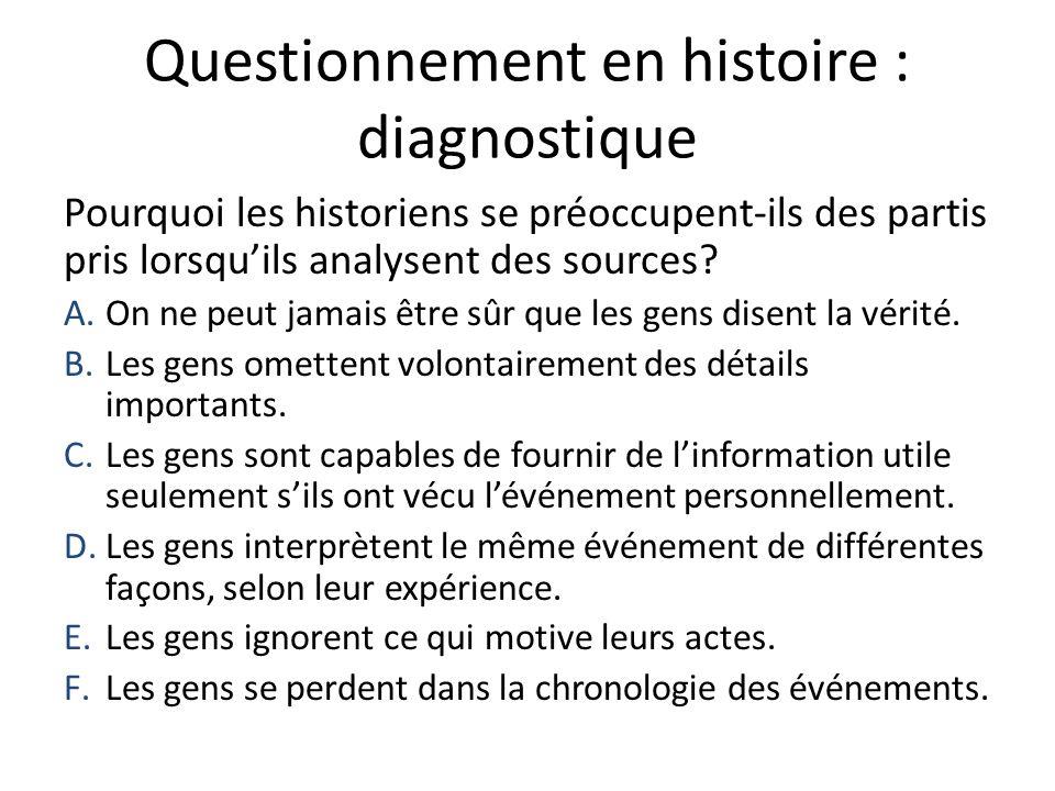 Questionnement en histoire : diagnostique