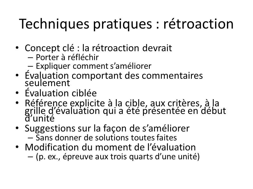 Techniques pratiques : rétroaction