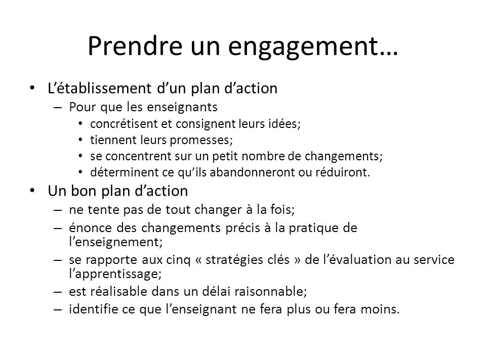 Prendre un engagement…
