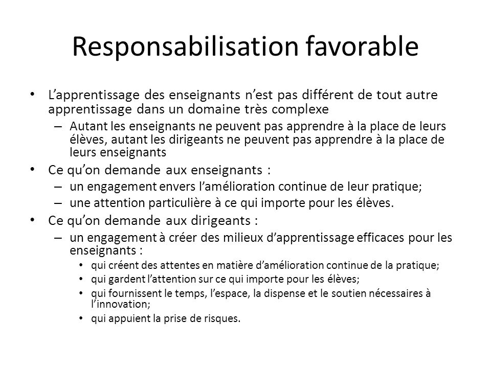 Responsabilisation favorable