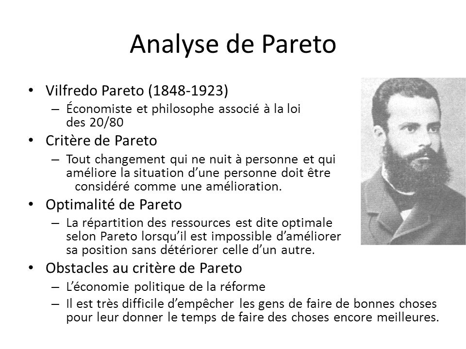 Analyse de Pareto Vilfredo Pareto (1848-1923) Critère de Pareto