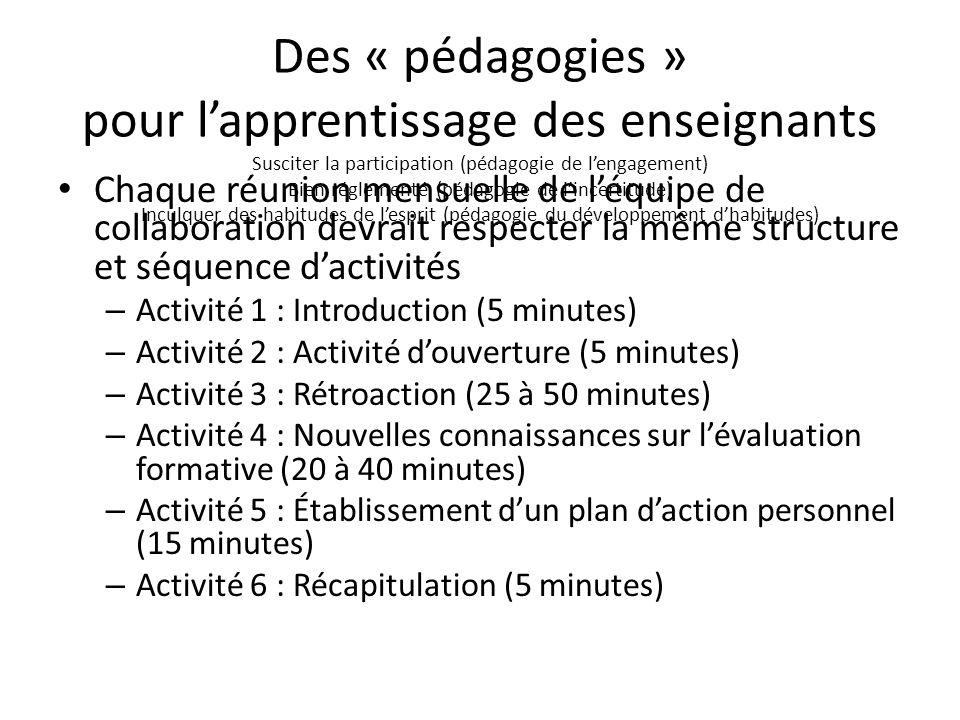 Des « pédagogies » pour l'apprentissage des enseignants Susciter la participation (pédagogie de l'engagement) Bien réglementé (pédagogie de l'incertitude) Inculquer des habitudes de l'esprit (pédagogie du développement d'habitudes)