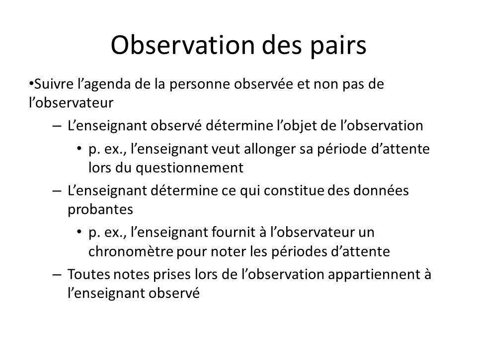 Observation des pairs Suivre l'agenda de la personne observée et non pas de l'observateur. L'enseignant observé détermine l'objet de l'observation.