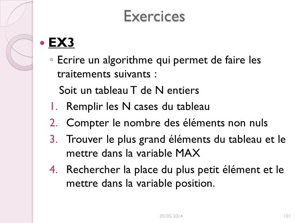 Exercices EX3. Ecrire un algorithme qui permet de faire les traitements suivants : Soit un tableau T de N entiers.