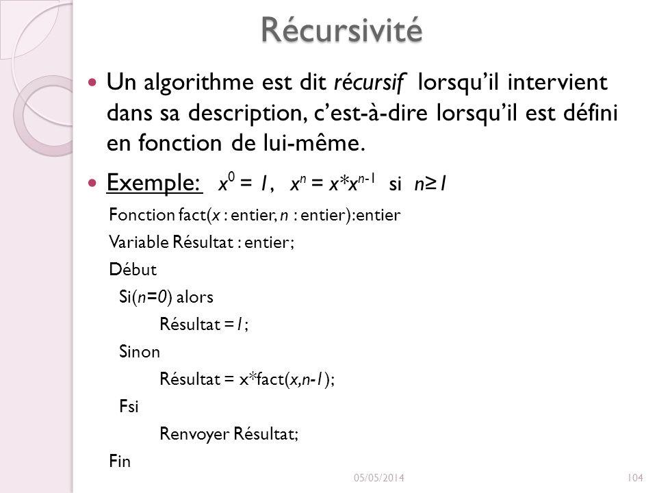 Récursivité Un algorithme est dit récursif lorsqu'il intervient dans sa description, c'est-à-dire lorsqu'il est défini en fonction de lui-même.