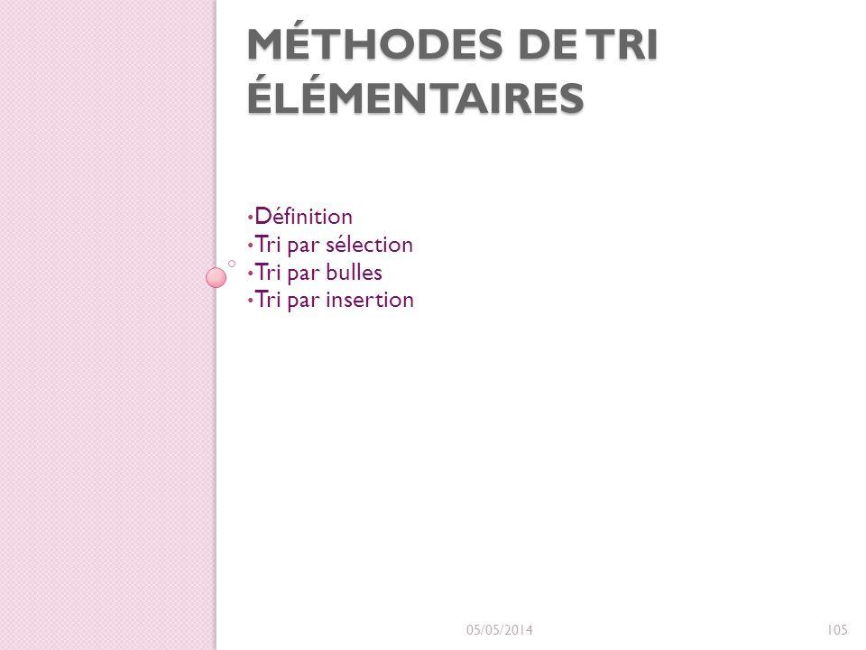 Méthodes de Tri élémentaires