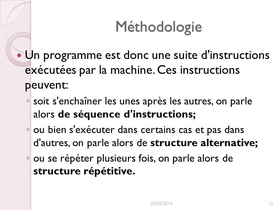 Méthodologie Un programme est donc une suite d instructions exécutées par la machine. Ces instructions peuvent:
