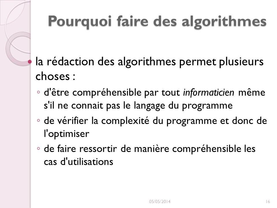 Pourquoi faire des algorithmes