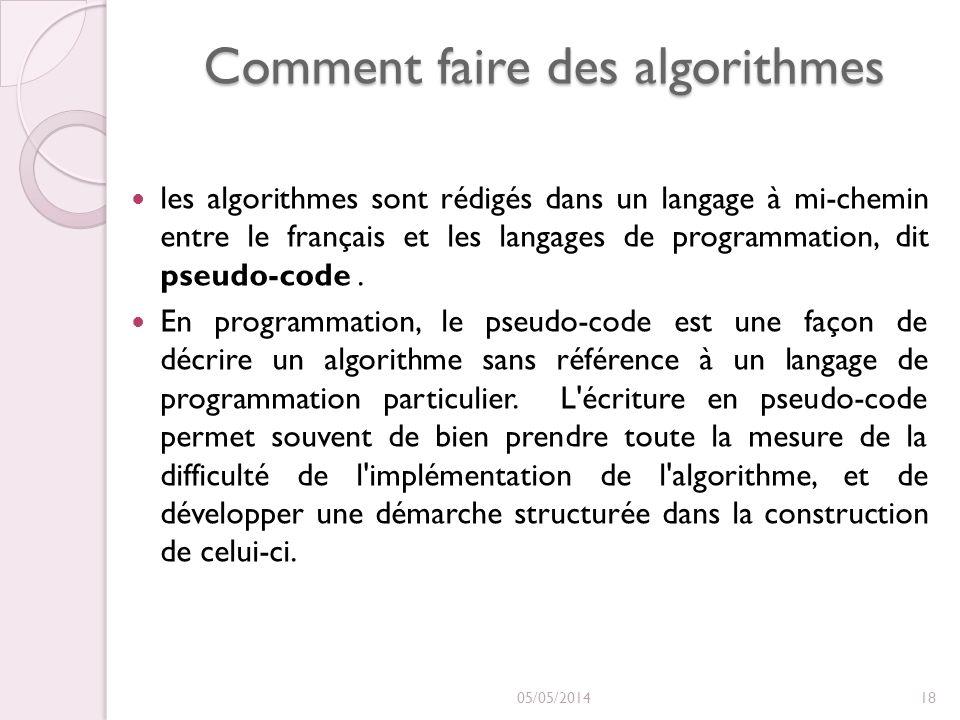 Comment faire des algorithmes