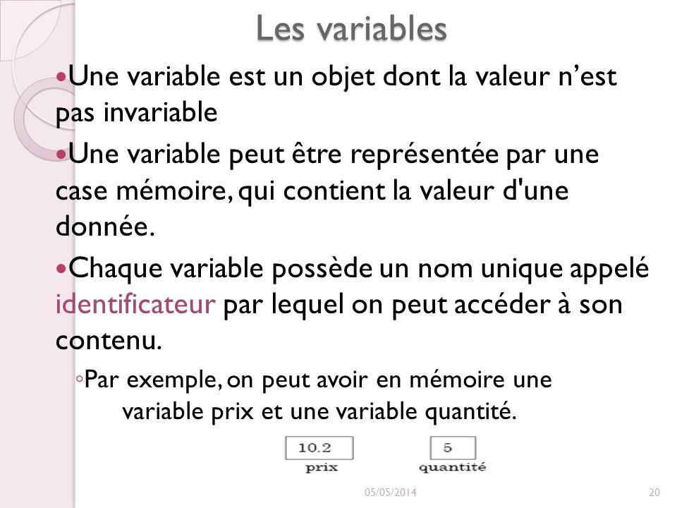 Les variables Une variable est un objet dont la valeur n'est pas invariable.