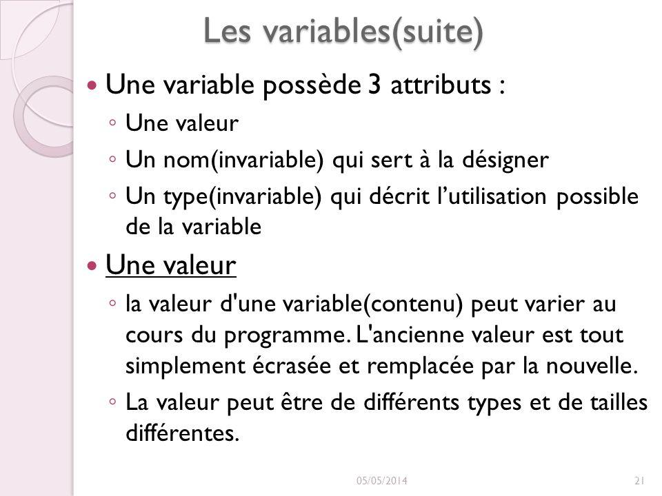 Les variables(suite) Une variable possède 3 attributs : Une valeur
