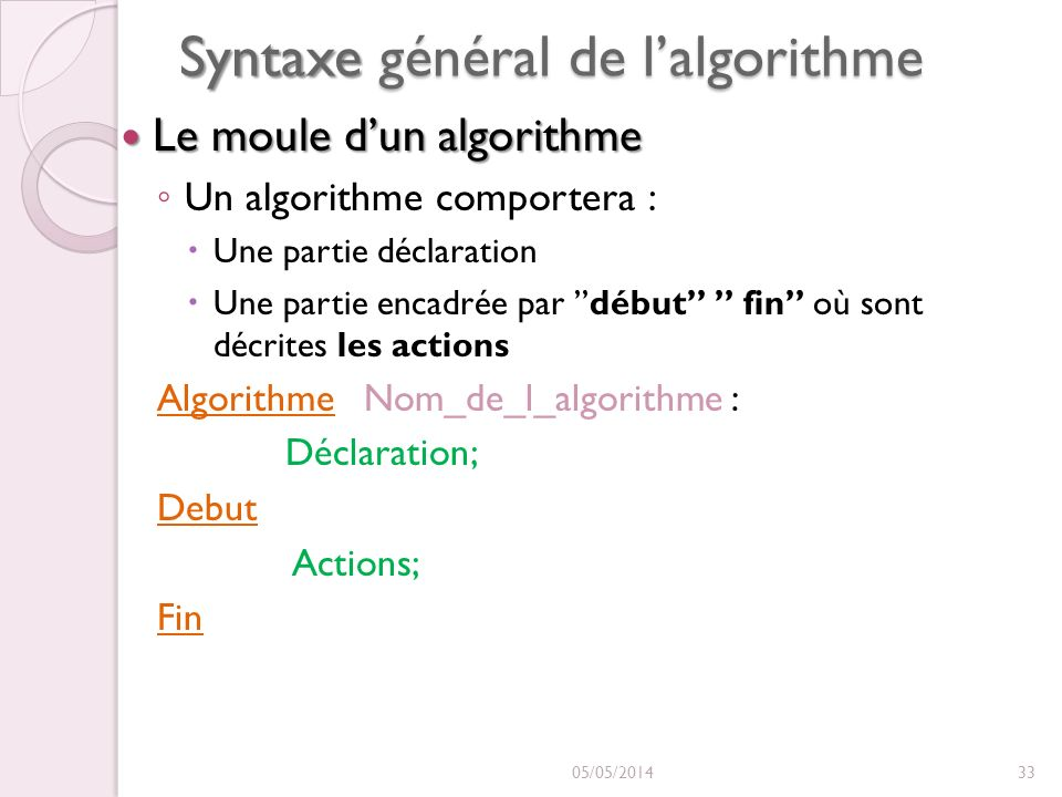 Syntaxe général de l'algorithme