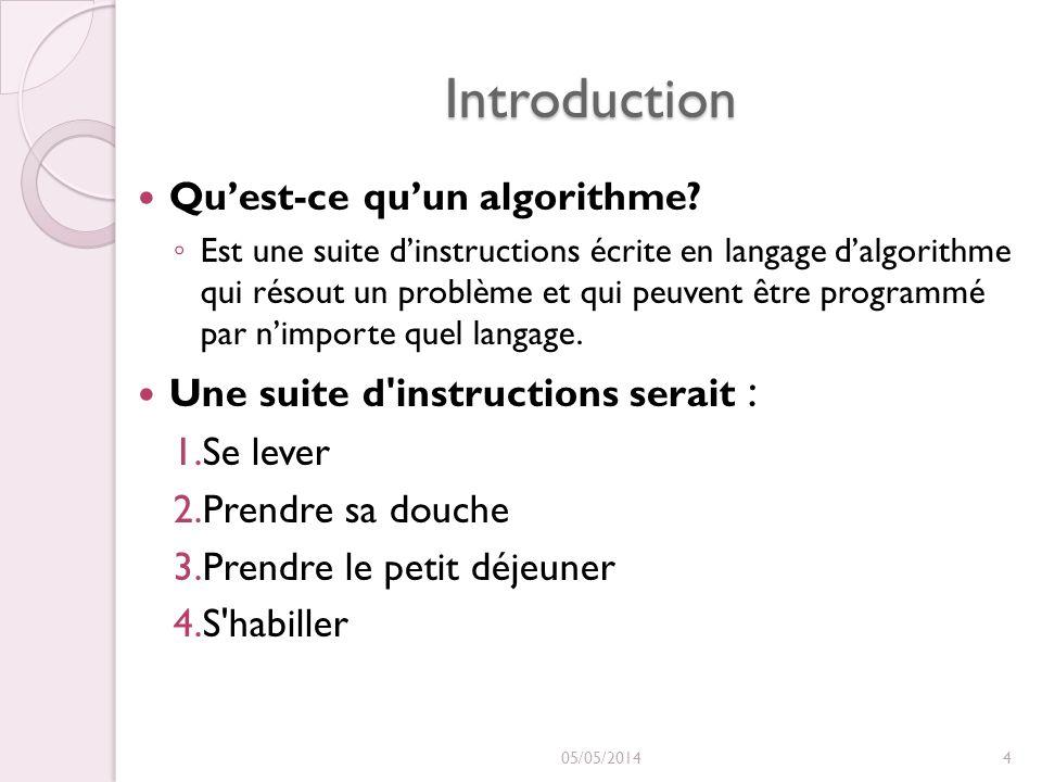 Introduction Qu'est-ce qu'un algorithme