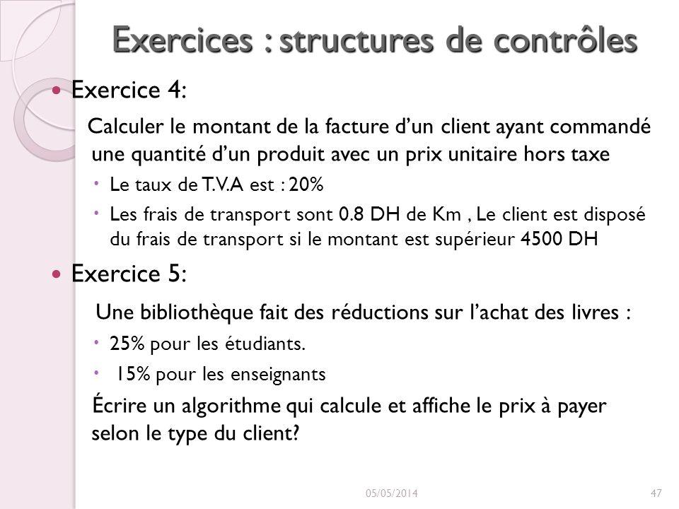 Exercices : structures de contrôles