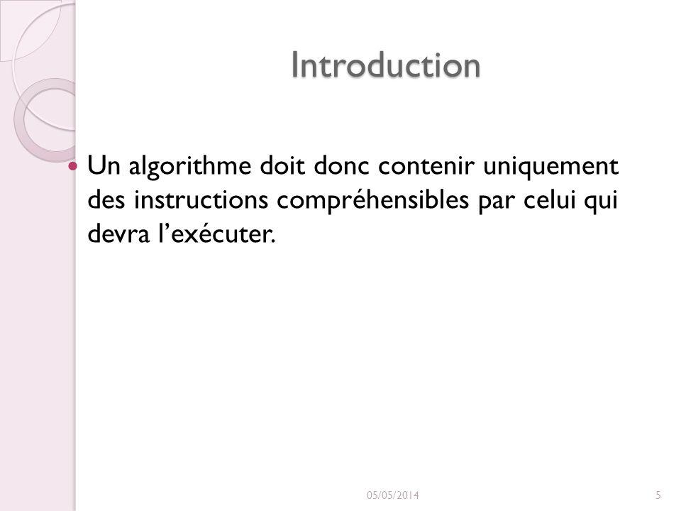 Introduction Un algorithme doit donc contenir uniquement des instructions compréhensibles par celui qui devra l'exécuter.